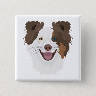 Bóton Quadrado 5.08cm Cara feliz border collie dos cães da ilustração