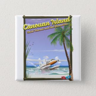 Bóton Quadrado 5.08cm Caribe, cartaz do paraíso das ilhas de Canouan