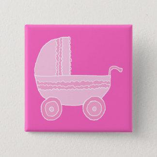 Bóton Quadrado 5.08cm Carrinho de criança de bebê. Rosa cor-de-rosa e