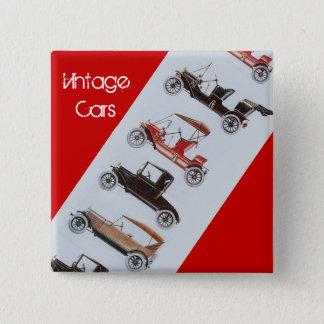 Bóton Quadrado 5.08cm Carros vintage que recolhem o cinza vermelho
