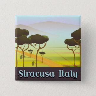 Bóton Quadrado 5.08cm Cartaz do viagem da paisagem de Siracusa Italia