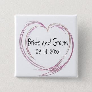 Bóton Quadrado 5.08cm Casamento abstrato cor-de-rosa do coração