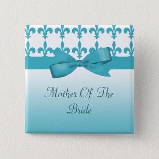 Bóton Quadrado 5.08cm Casamento azul & branco da flor de lis