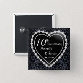 Bóton Quadrado 5.08cm Casamento do aniversário do diamante preto do