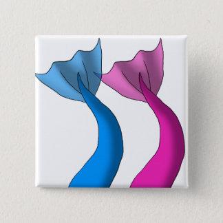 Bóton Quadrado 5.08cm Caudas da sereia do rosa azul e quente