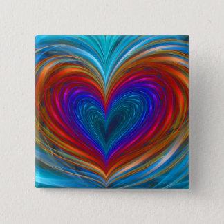 Bóton Quadrado 5.08cm Cheio do amor do botão da cor