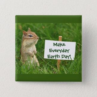 Bóton Quadrado 5.08cm Chipmunk do Dia da Terra
