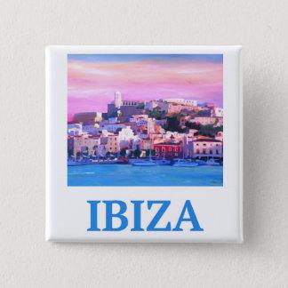 Bóton Quadrado 5.08cm Cidade e porto velhos de Ibiza do poster retro