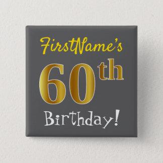 Bóton Quadrado 5.08cm Cinzas, aniversário do ouro do falso 60th, com