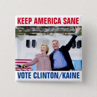 Bóton Quadrado 5.08cm Clinton/Kaine 2016