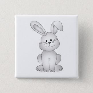 Bóton Quadrado 5.08cm Clipart branco do coelho