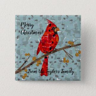 Bóton Quadrado 5.08cm Colagem cardinal do pássaro do Natal