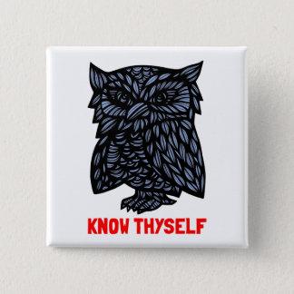 """Bóton Quadrado 5.08cm """"Conheça botão quadrado de Thyself"""""""