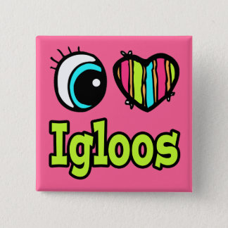 Bóton Quadrado 5.08cm Coração brilhante do olho eu amo iglus
