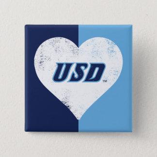 Bóton Quadrado 5.08cm Coração do vintage de USD