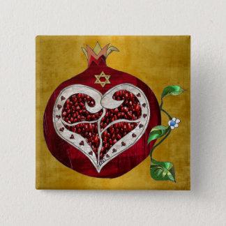 Bóton Quadrado 5.08cm Coração Hanukkah Rosh Hashanah da romã de Judaica