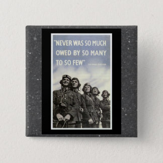 Bóton Quadrado 5.08cm Cotação britânica de WW2 Churchill