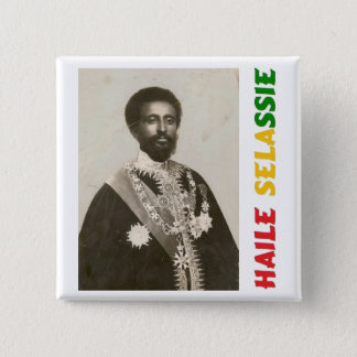 Bóton Quadrado 5.08cm Crachá de Haile Selassie