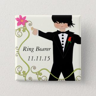 Bóton Quadrado 5.08cm Crachás do casamento de BowTie do portador de anel
