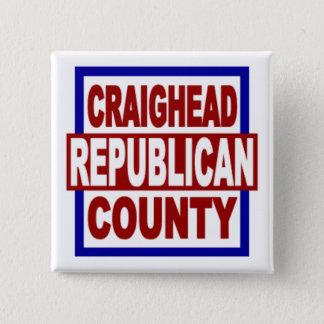 """Bóton Quadrado 5.08cm Craighead County Repubican 2"""" x 2"""" botão quadrado"""