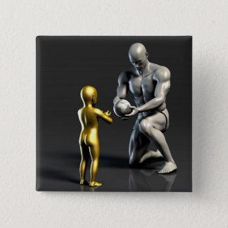 Bóton Quadrado 5.08cm Criança de ensino do pai como um conceito em 3D