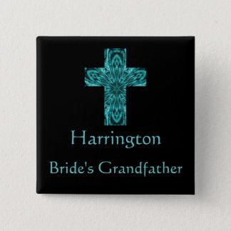 """Bóton Quadrado 5.08cm Da """"cruz do Fractal do Aqua do avô noiva"""" -"""