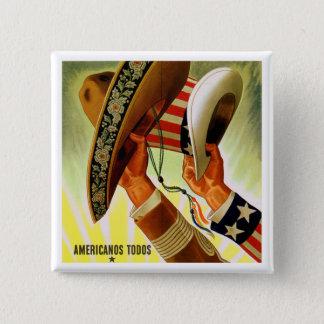 """Bóton Quadrado 5.08cm De """"botão do vintage Americanos TODOS"""" (americanos"""