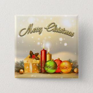 Bóton Quadrado 5.08cm Decorações coloridas da vela do Feliz Natal