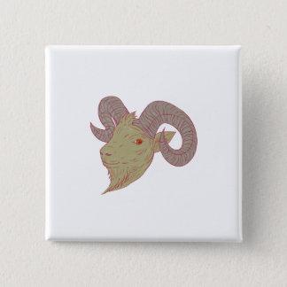 Bóton Quadrado 5.08cm Desenho da cabeça da ram da cabra de montanha