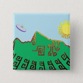 Bóton Quadrado 5.08cm Desenho de Machu Picchu Peru