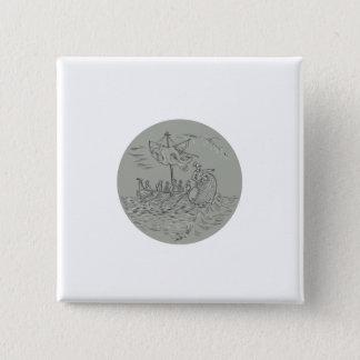 Bóton Quadrado 5.08cm Desenho do círculo do navio de guerra do Trireme