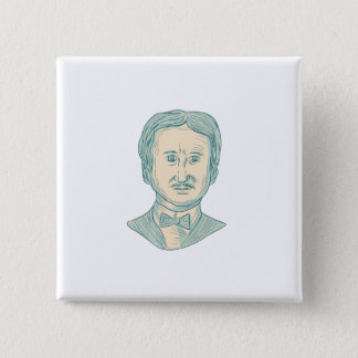 Bóton Quadrado 5.08cm Desenho do escritor de Edgar Allan Poe