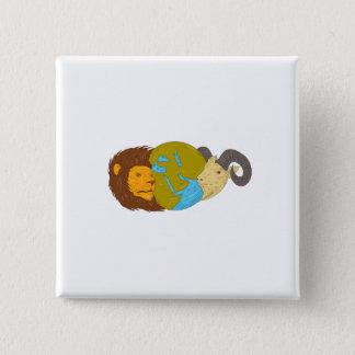 Bóton Quadrado 5.08cm Desenho do globo do mapa de Médio Oriente da