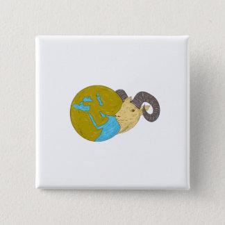 Bóton Quadrado 5.08cm Desenho principal do globo de Médio Oriente da ram