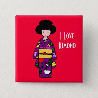 Bóton Quadrado 5.08cm Desenhos animados do roxo da menina do quimono