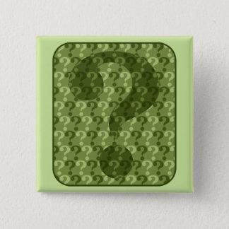 Bóton Quadrado 5.08cm Design do ponto de interrogação no verde
