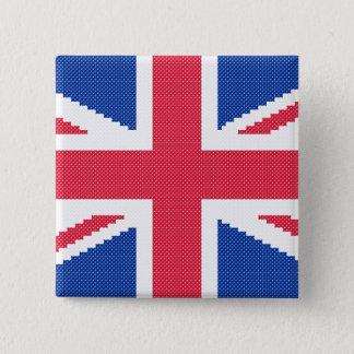 Bóton Quadrado 5.08cm Design original Union Jack do ponto de cruz
