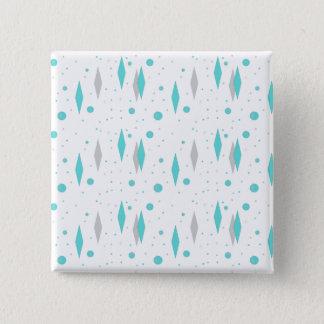 Bóton Quadrado 5.08cm Diamante retro de turquesa & botão quadrado de