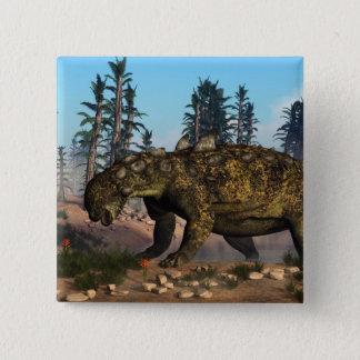 Bóton Quadrado 5.08cm Dinossauro de Euoplocephalus - 3D rendem