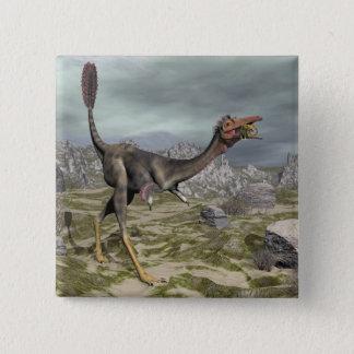 Bóton Quadrado 5.08cm Dinossauro de Mononykus no deserto - 3D rendem