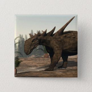 Bóton Quadrado 5.08cm Dinossauro de Sauropelta - 3D rendem
