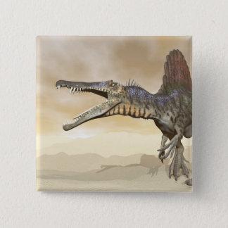 Bóton Quadrado 5.08cm Dinossauro de Spinosaurus no deserto - 3D rendem