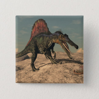 Bóton Quadrado 5.08cm Dinossauro de Spinosaurus que caça um cobra