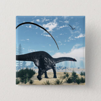 Bóton Quadrado 5.08cm Dinossauro do Apatosaurus no deserto - 3D rendem