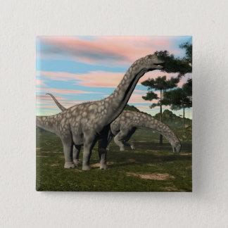 Bóton Quadrado 5.08cm Dinossauro do Argentinosaurus que come a árvore -