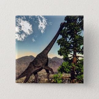 Bóton Quadrado 5.08cm Dinossauro do Brachiosaurus que come o pinho do