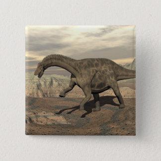 Bóton Quadrado 5.08cm Dinossauro do Dicraeosaurus que anda - 3D rendem