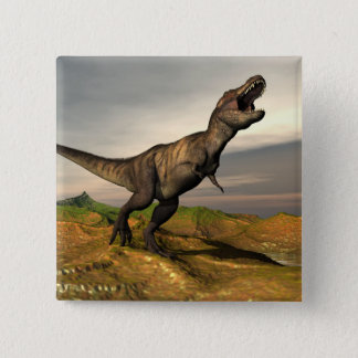 Bóton Quadrado 5.08cm Dinossauro do rex do tiranossauro - 3D rendem
