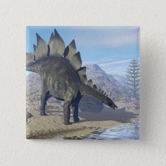 Bóton Quadrado 5.08cm Dinossauro do Stegosaurus - 3D rendem