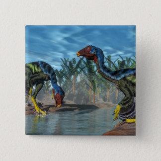 Bóton Quadrado 5.08cm Dinossauros de Caudipteryx - 3D rendem